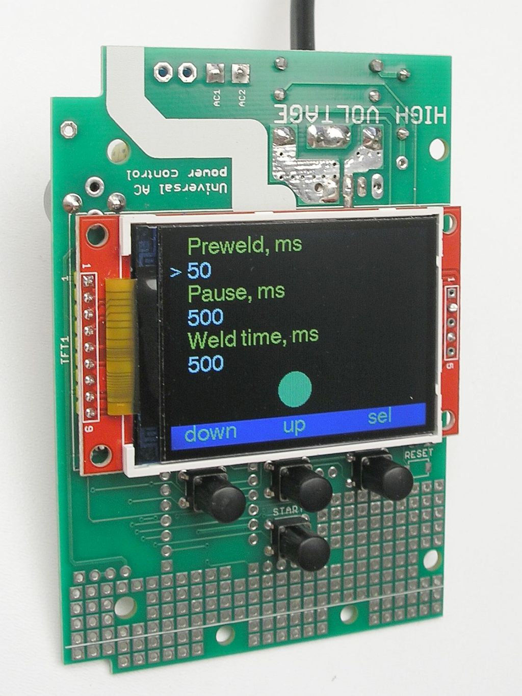Spot welding controller (switches soldered)