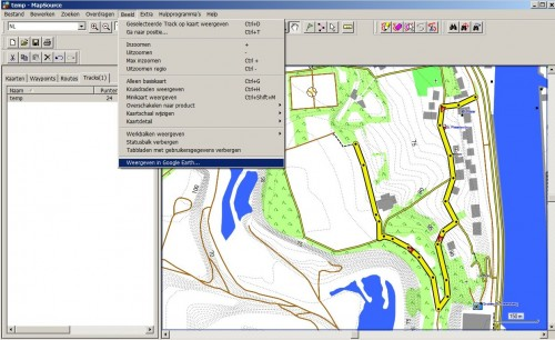 Sending a track in MapSource to Google Earth
