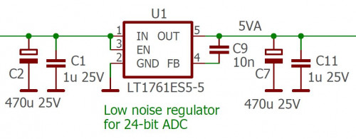 Ultra−low noise regulator with LTC1761