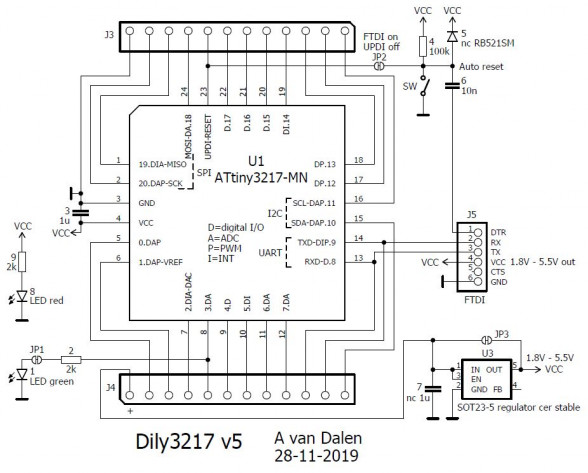 Small ATtiny3217 development board