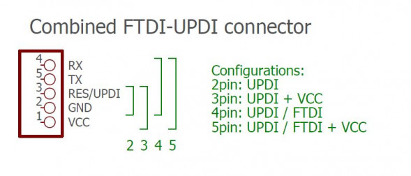 FTDI / UPDI connector configuration