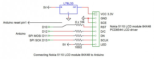 Connecting Nokia 5110 LCD to Arduino with 3 wires