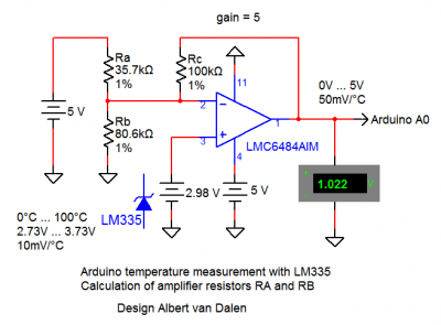 Arduino temperature measurement with LM335