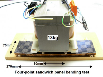 Sandwich panel four-point bending test