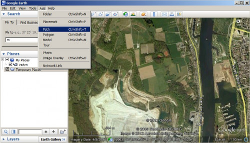 Starting a new track in Google Earth