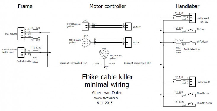 E-bike cable killer 2-wire control bus