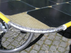Flashing light on solar bike