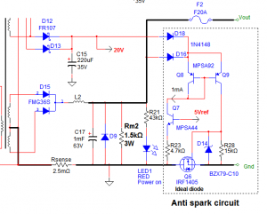 Anti spark circuit with a power MOSFET used as an ideal diode