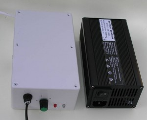 Lightweight 800g battery charger (left), Chinese battery charger (right)
