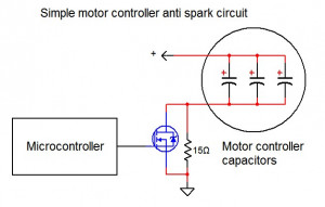 Simple motor controller anti spark circuit
