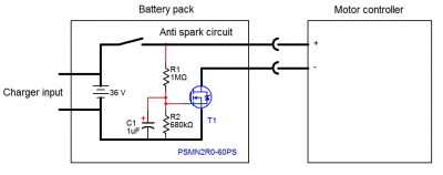 Anti spark circuit built into the battery pack 1