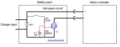 Anti spark circuit built into the battery pack 2