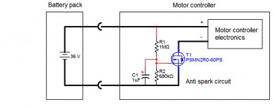 Anti spark circuit built into the motor controller 36V