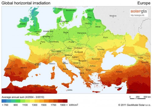 Yearly average horizontal solar radiation kWh/m2